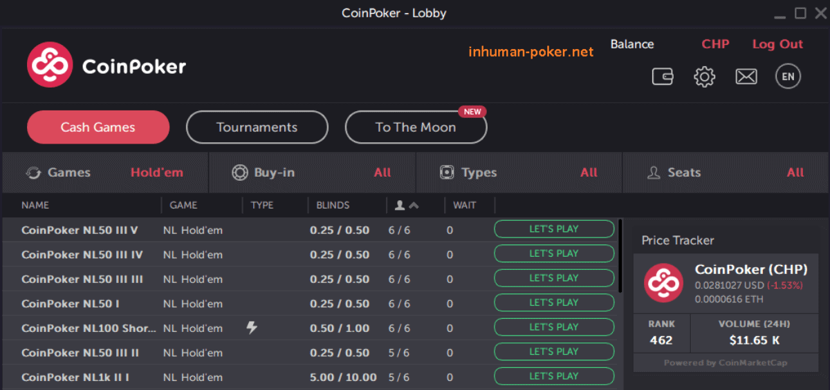 table map for coinpoker