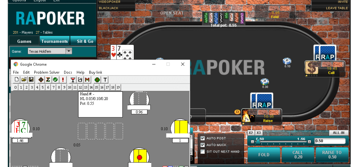 Here you can see the bot playing RAPoker